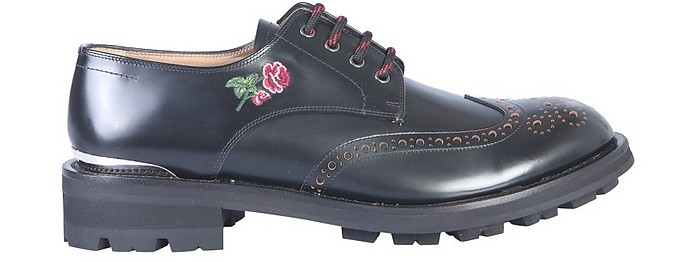 Embroidered Black Leather Lace-Up Men's Derby Shoes - Alexander McQueen