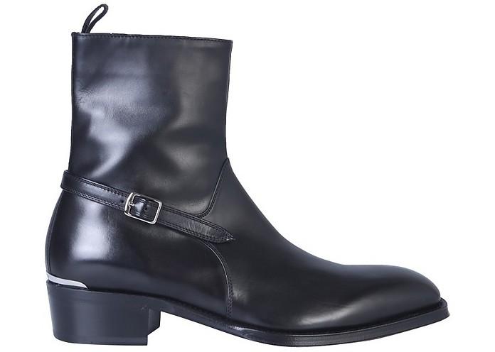 Black Leather Men's Boot w/Buckle & Zip - Alexander McQueen 亚历山大·麦昆