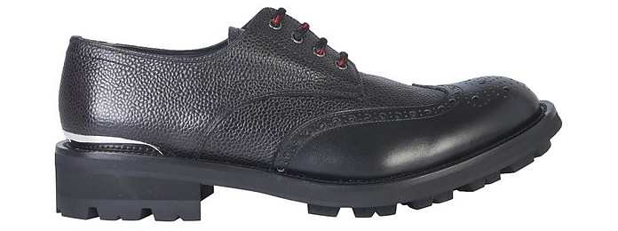 Black Embossed Leather Men's Lace-Up Derby Shoes - Alexander McQueen