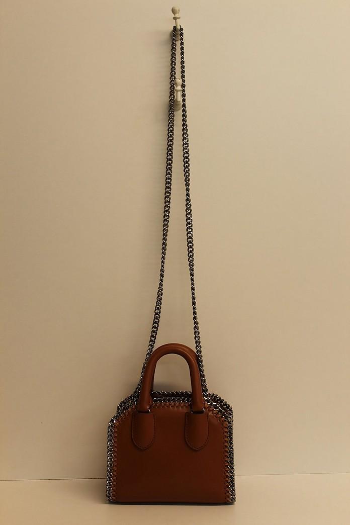 Brown Top-Handle Mini Falabella Tote Bag w/Shoulder Strap - Stella McCartney
