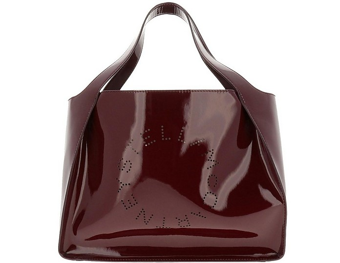 Burgundy Patent Leather Stella Tote Bag - Stella McCartney