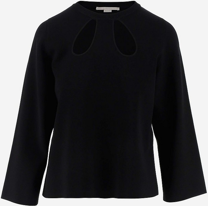 Black Viscose Cut-Out Women's Long Sleeves Top - Stella McCartney