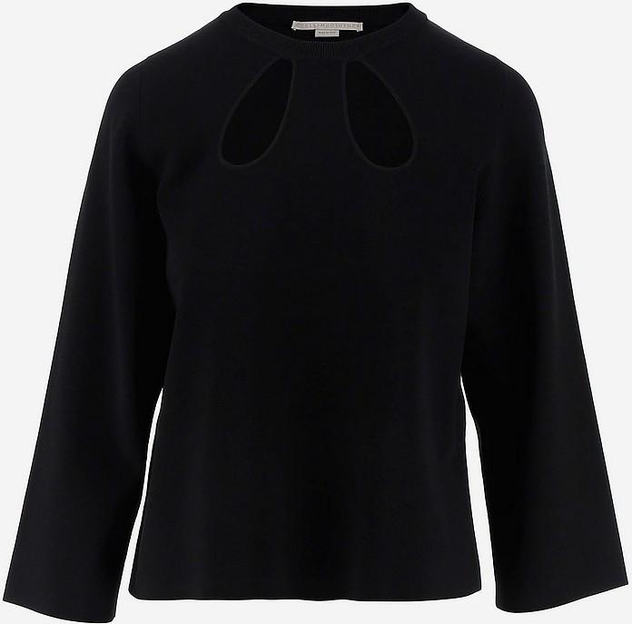 Black Viscose Cut-Out Women's Long Sleeves Top - Stella McCartney / ステラ マッカートニー
