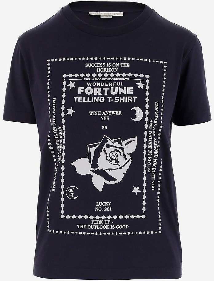 Fortune Printed Blue Cotton Women's T-Shirt - Stella McCartney