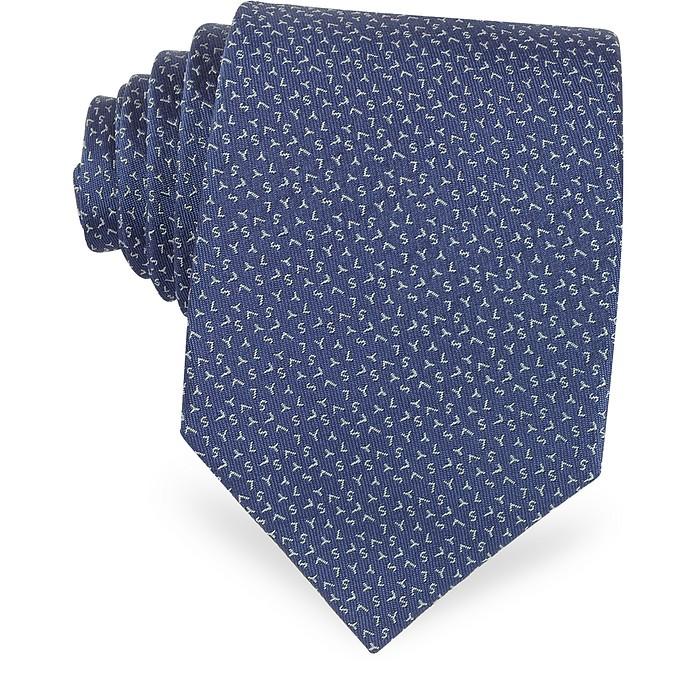Signature Blue Woven Silk Tie - Saint Laurent