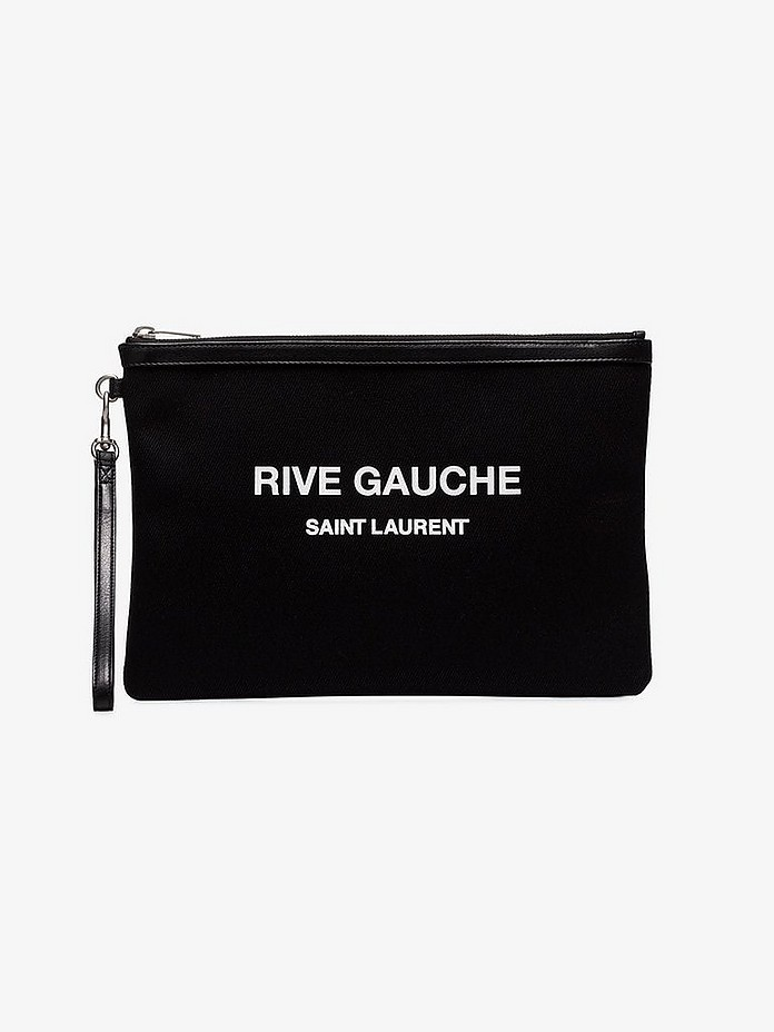 Saint Laurent Clutch Black rive gauche leather clutch bag