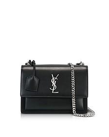 Black Leather Medium Sunset Monogram Shoulder Bag - Saint Laurent