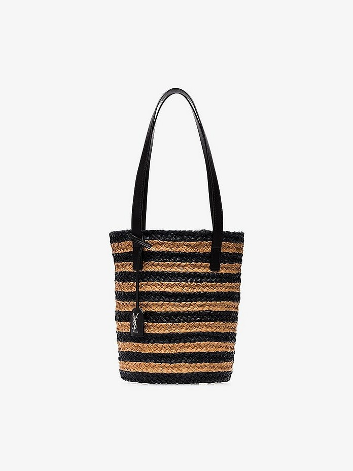Saint Laurent Totes Brown and black panier small stripe tote bag