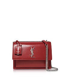 Red Leather Medium Sunset Monogram Shoulder Bag  - Saint Laurent