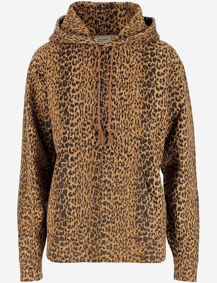 Animal Print Cotton Jersey Women's Hoodie - Saint Laurent