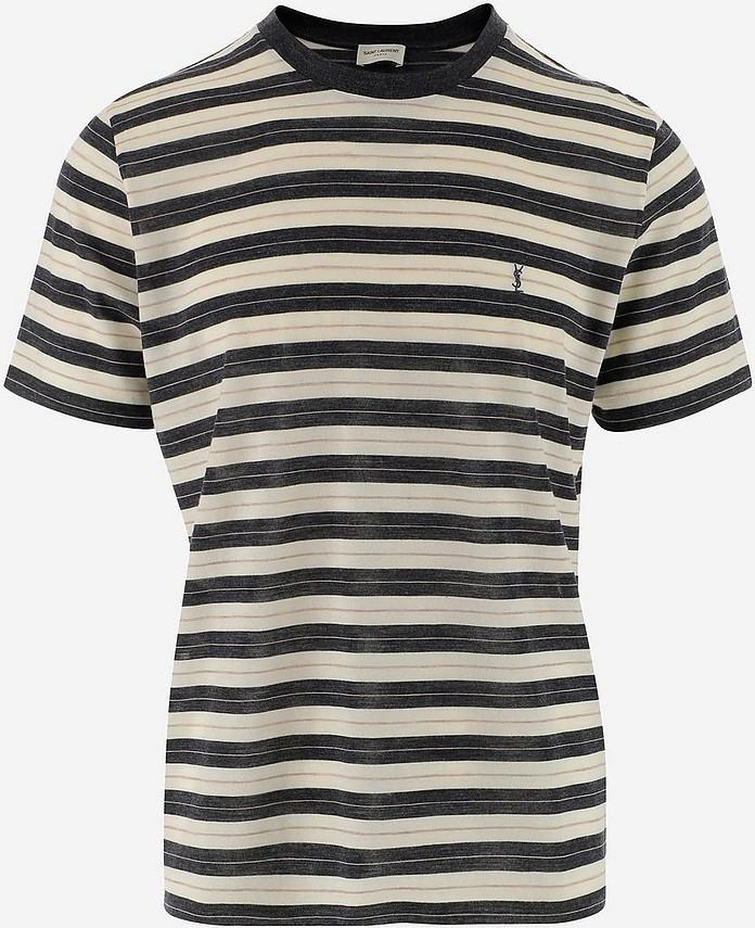 Striped Wool Men's T-Shirt - Saint Laurent