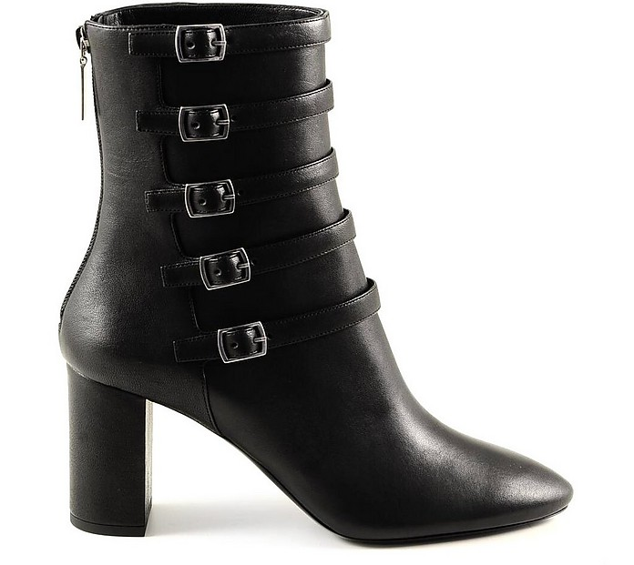 Black Leather High Heel Women's Booties - Saint Laurent