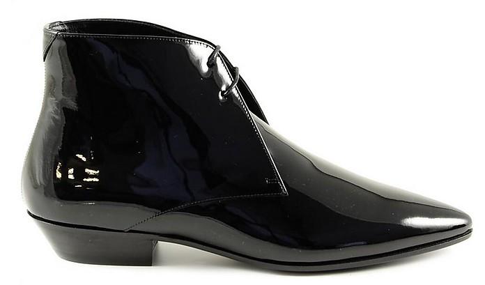 Black Patent Leather Ankle Lace-up Shoes - Saint Laurent