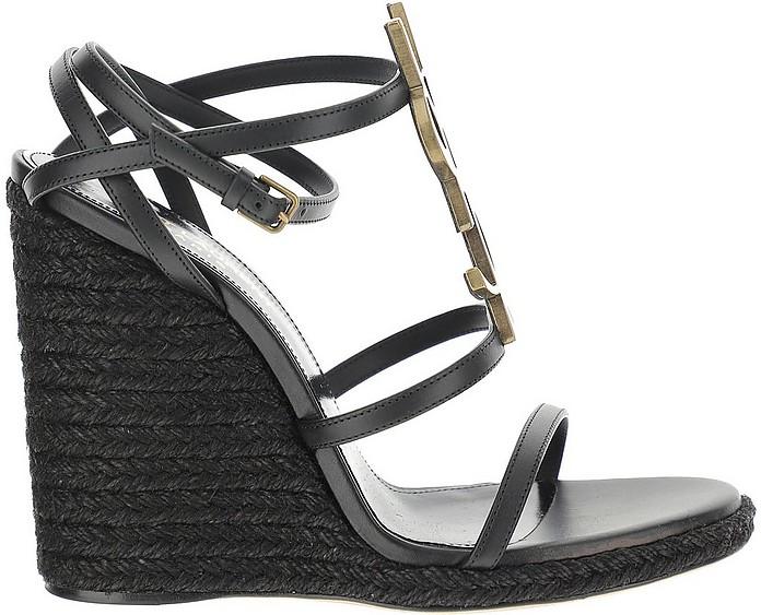 Black Cassandra Braided Jute Wedge Sandals - Saint Laurent