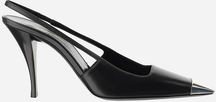 Black and Mirror Leather Sling Back Shoes - Saint Laurent