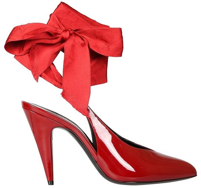 Red Patent Leather Venus Pumps W/Satin Lace - Saint Laurent