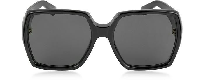 SL M2 Oversized Black Square-Frame Acetate Women's Sunglasses - Saint Laurent