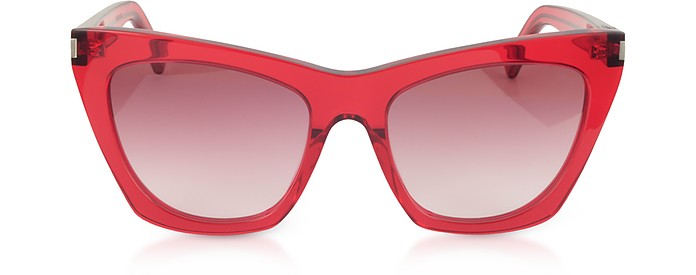 465a49bb023 Saint Laurent Red Red New Wave 214 KATE Acetate Sunglasses at FORZIERI