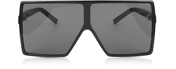 New Wave 183 Shiny Black Acetate Betty Sunglasses - Saint Laurent