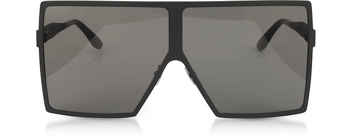 New Wave 182 Matte Black Metal Betty Sunglasses - Saint Laurent