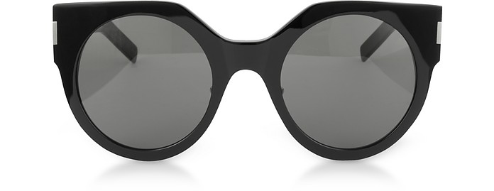 SL 185 Slim Shiny Black Acetate Women's Sunglasses - Saint Laurent