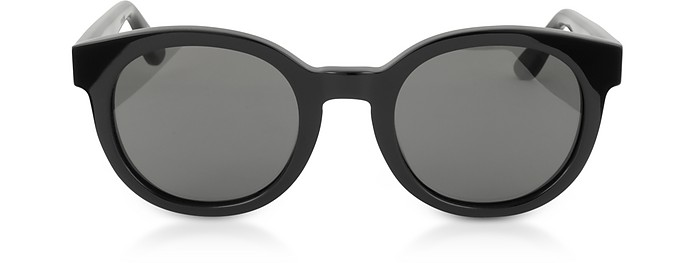 b475642b9a2 Saint Laurent Black Gray SL M15 001 Round Frame Acetate Sunglasses ...
