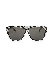 SL1 014 Black and White Zebra Striped Acetate Frame Sunglasses - Saint Laurent