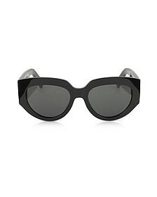 SL M26 ROPE Black Acetate Square Cat-Eye Frame Sunglasses - Saint Laurent