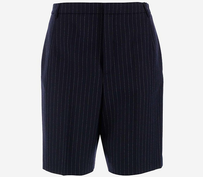 Women's Striped Wool Shorts - Saint Laurent