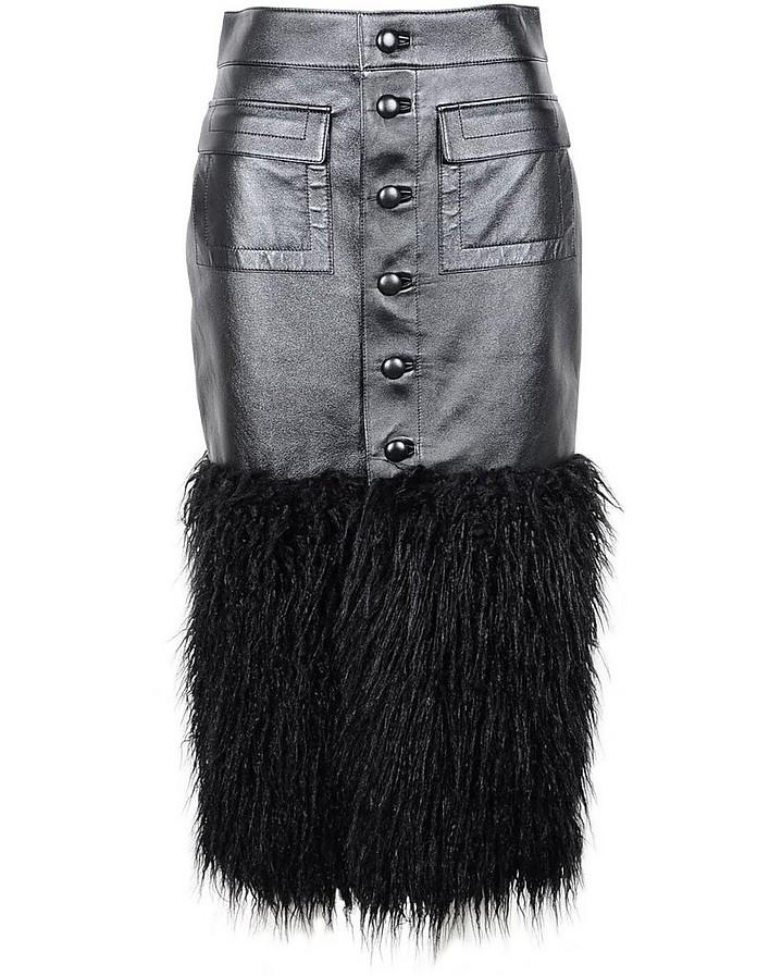 Black Eco-Leather and Feathers Women's Midi Skirt - Saint Laurent