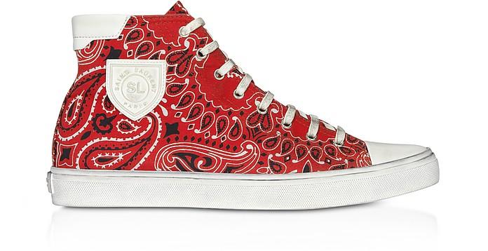 Red Bandana Printed Canvas High Top Men's Sneakers - Saint Laurent