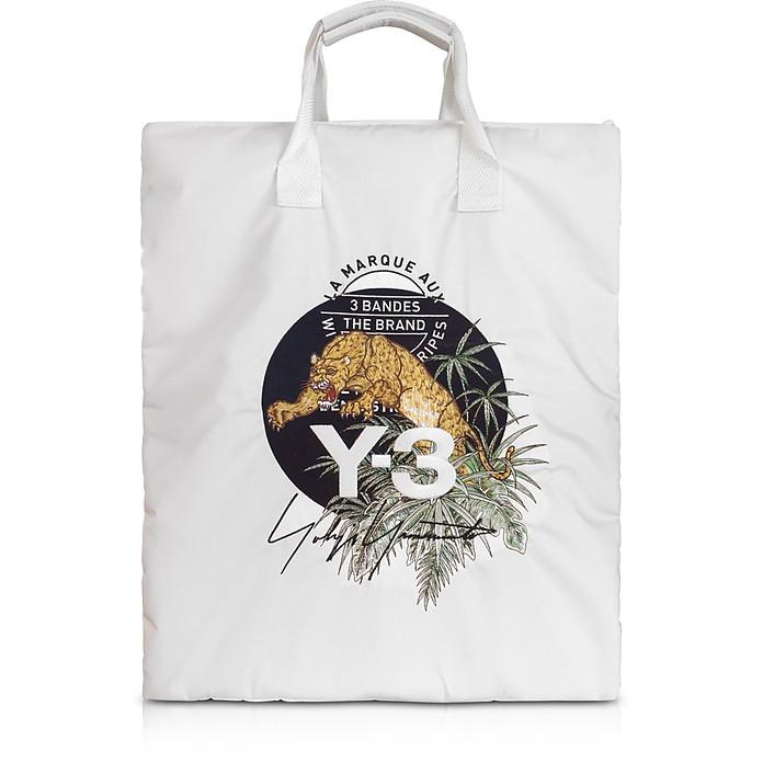 Core White Signature Print Tote Bag - Y-3