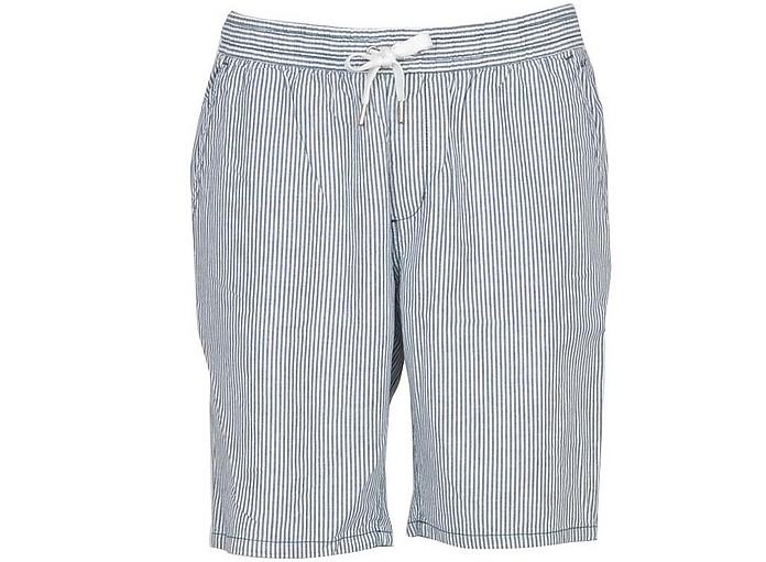 Men's White / Light Blue Bermuda Shorts - SUN68