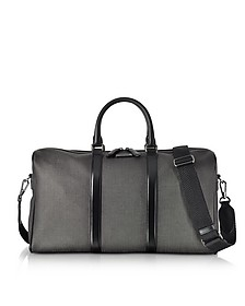 Slate Coated Canvas and Leather Men's Weekender Bag - Ermenegildo Zegna