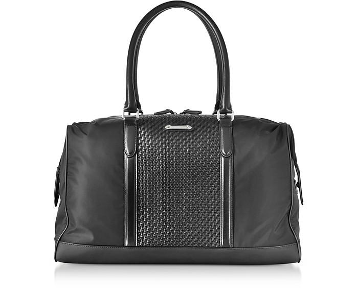 Black Nylon and Woven Leather Holdall  - Ermenegildo Zegna