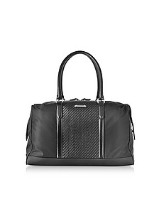 Black Nylon and Woven Leather Holdall  - Ermenegildo Zegna