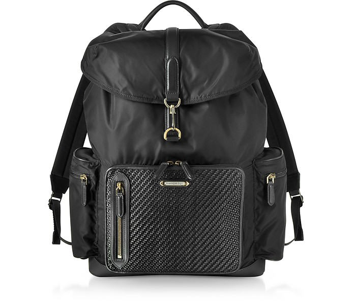 Black Nylon and Woven Leather Backpack - Ermenegildo Zegna / エルメネジルド ゼニア