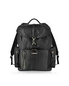 Black Nylon and Woven Leather Backpack - Ermenegildo Zegna