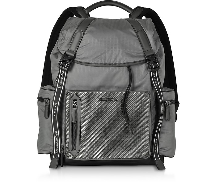 Gray Nylon and Leather Backpack - Ermenegildo Zegna