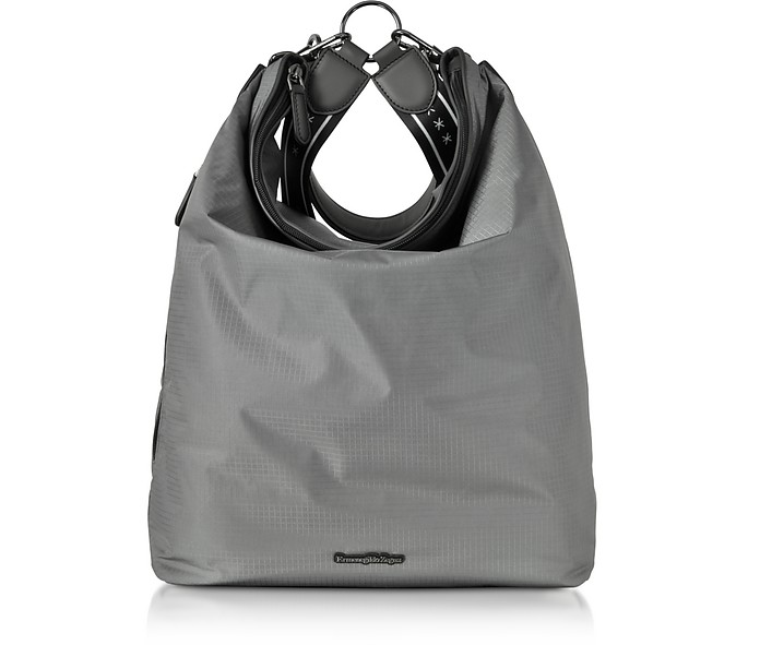Gray Nylon Men's Tote Bag/Backpack - Ermenegildo Zegna
