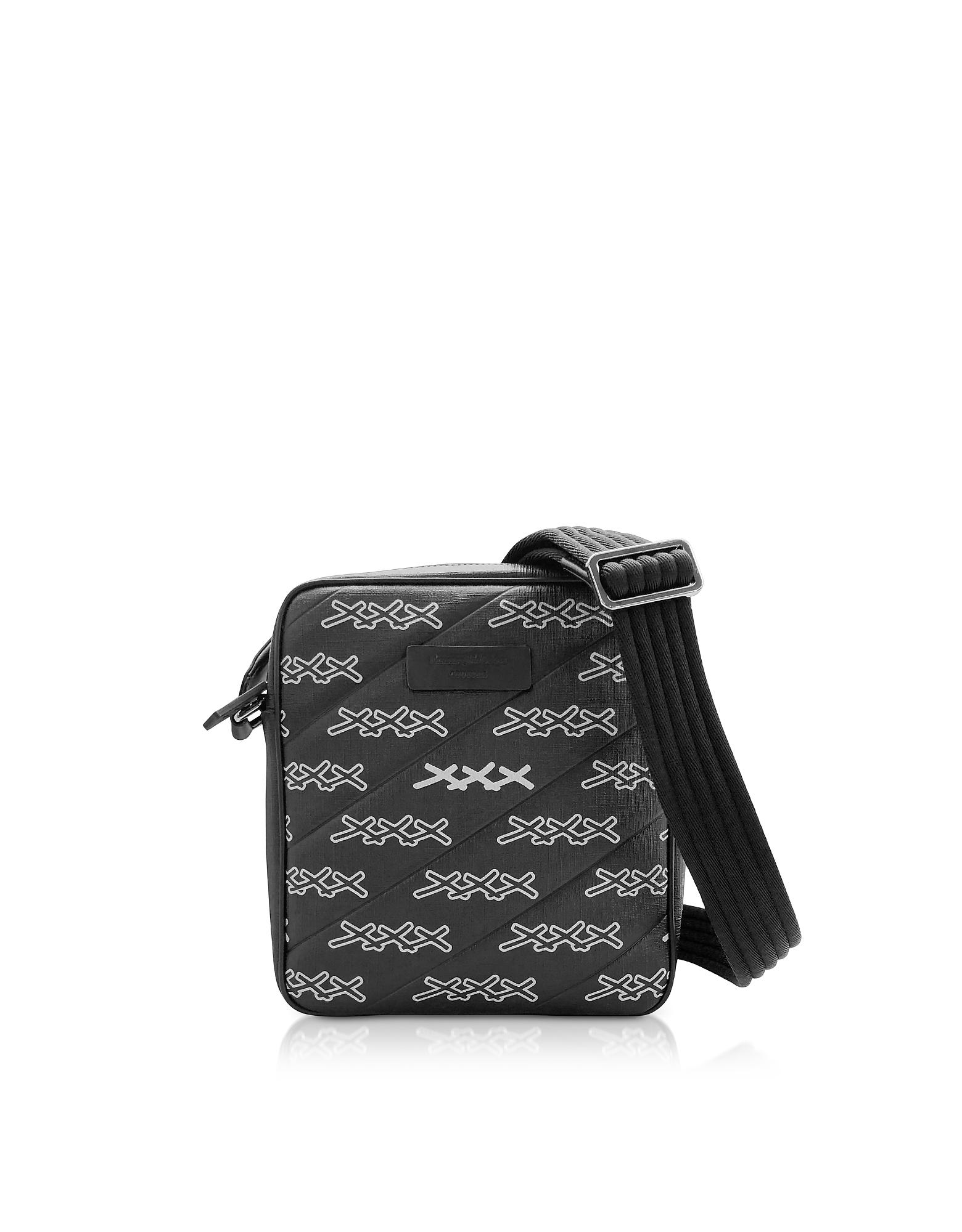 Ermenegildo Zegna Crossbody BLACK COATED CANVAS SIGNATURE CROSSBODY BAG
