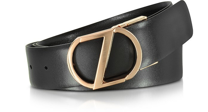 6983399b Black Leather Reversible & Adjustable Belt w/Rose Gold-tone Signature Buckle