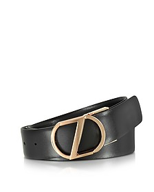 Black Leather Reversible & Adjustable Belt w/Rose Gold-tone Signature Buckle - Ermenegildo Zegna