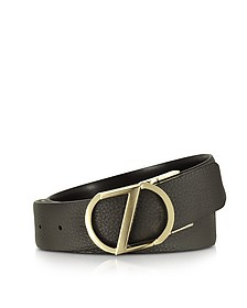 Dark Brown Leather Reversible & Adjustable Belt w/Gold-tone Signature Buckle - Ermenegildo Zegna