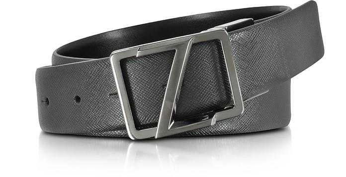 Cintura in Pelle Nera Regolabile e Reversibile con FIbbia Logata Ermenegildo Zegna sKXbuhV9VC