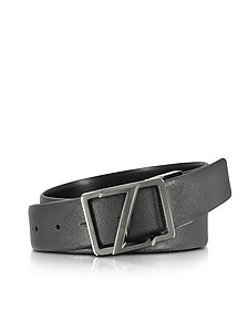 Black Leather Reversible & Adjustable Belt w/Gunmetal Signature Buckle - Ermenegildo Zegna