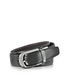 Black Leather Reversible and Adjustable Belt w/Silvertone Signature Buckle - Ermenegildo Zegna