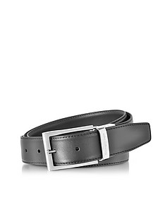 Black/Dark Brown Smooth Leather Reversible and Adjustable Belt - Ermenegildo Zegna