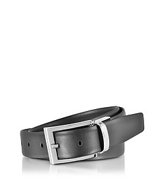 Black/Dark Brown Leather Reversible and Adjustable Belt - Ermenegildo Zegna