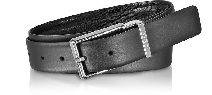 Black Smooth/Embossed Leather Adjustable and Reversible Men's Belt - Ermenegildo Zegna